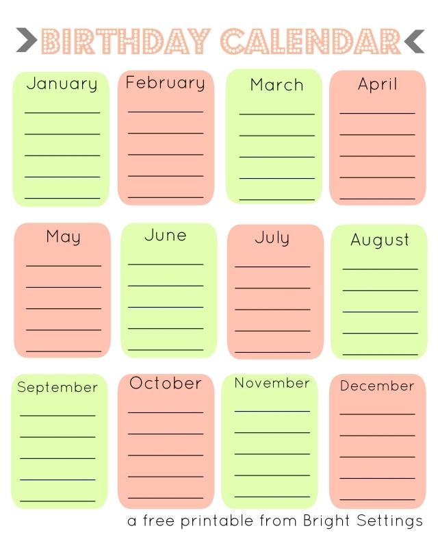 Printable Birthday Calendar3abry