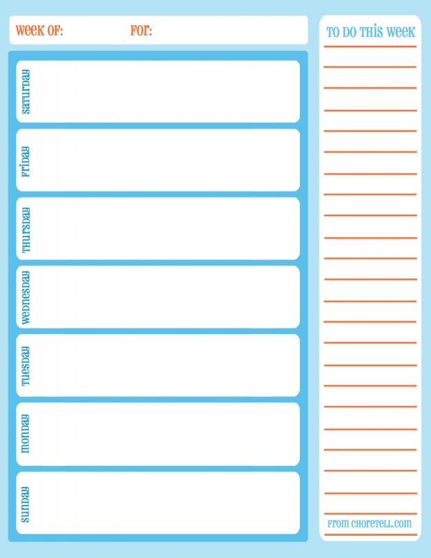 Printable Weekly Calendar  xjb