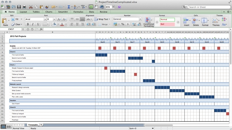 Track Projects In Excel Like A Ninja Paper Raven Books  xjb