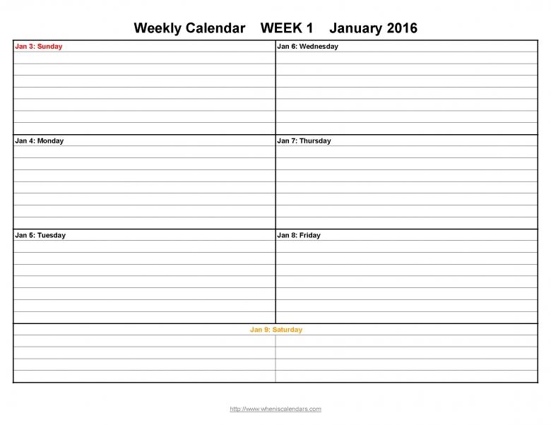 Week Printable Calendar Template Sample  xjb