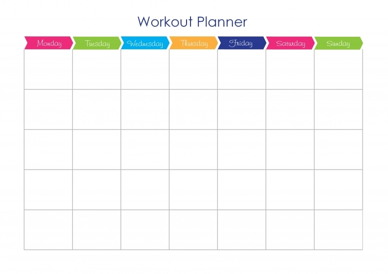 Workout calendar template free calendar template for Fitness plan template weekly