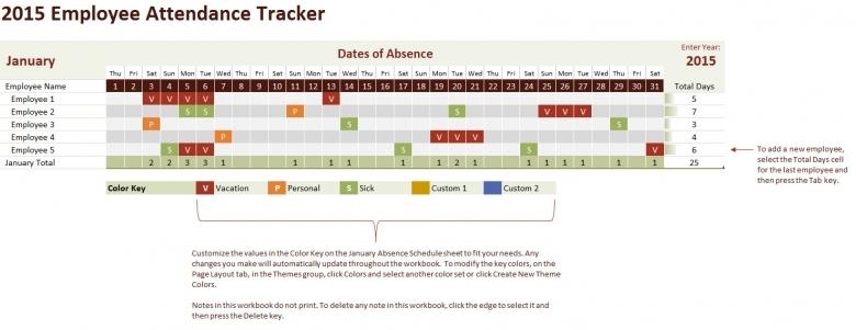 2015 Employee Attendance Tracking Calendar3abry