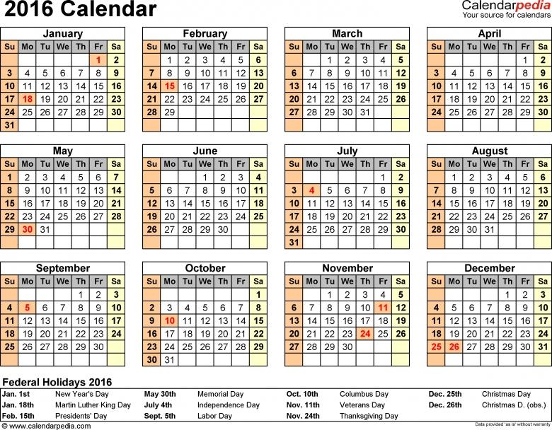 2016 Calendar 16 Free Printable Word Calendar Templates  xjb
