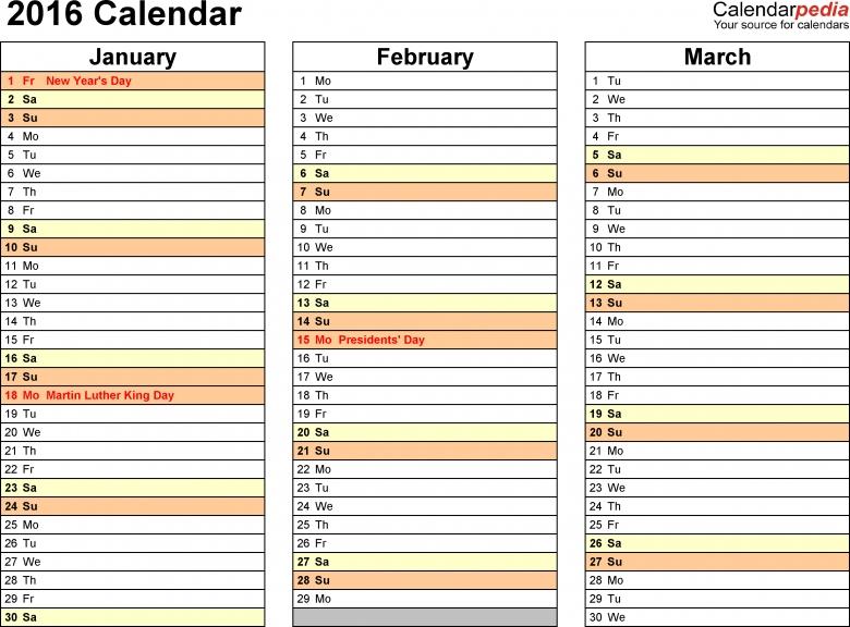 2016 Calendar Pdf 16 Free Printable Calendar Templates3abry