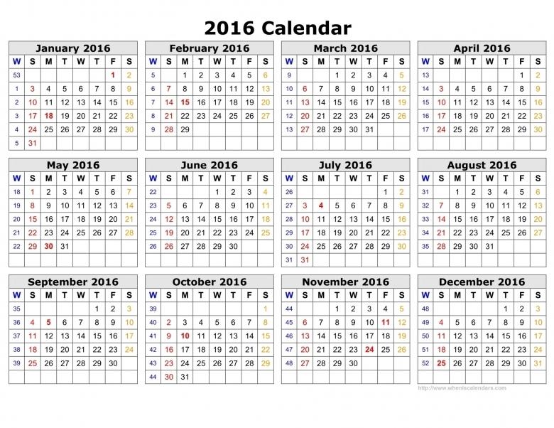 2016 Calendar With Week Numbers When Is Calendar3abry