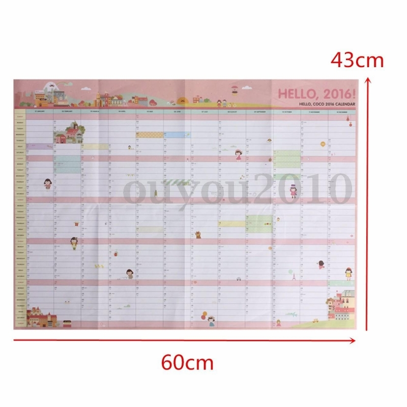 2016 Year Wall Hanging Calendar Planner Daily Monthly Schedule For3abry