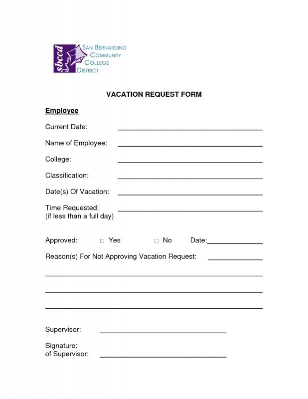 Free Vacation Request Forms With Calendar :-Free Calendar Template