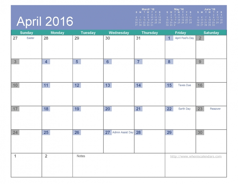 April 2016 Calendar Free Printable 6 Templates Pdf Excel When  xjb