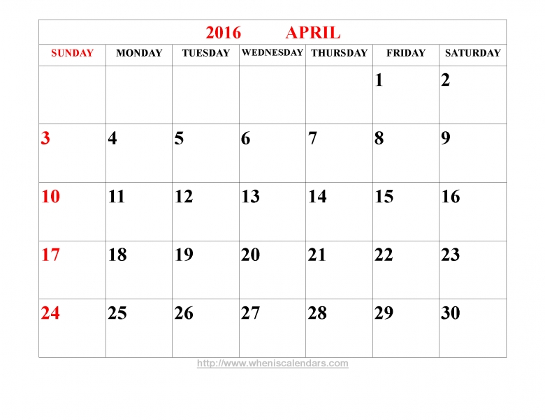 Blank Calendar April Pdf : Bold print april calendar free template