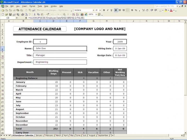 Attendance Calendar Excel Templates3abry