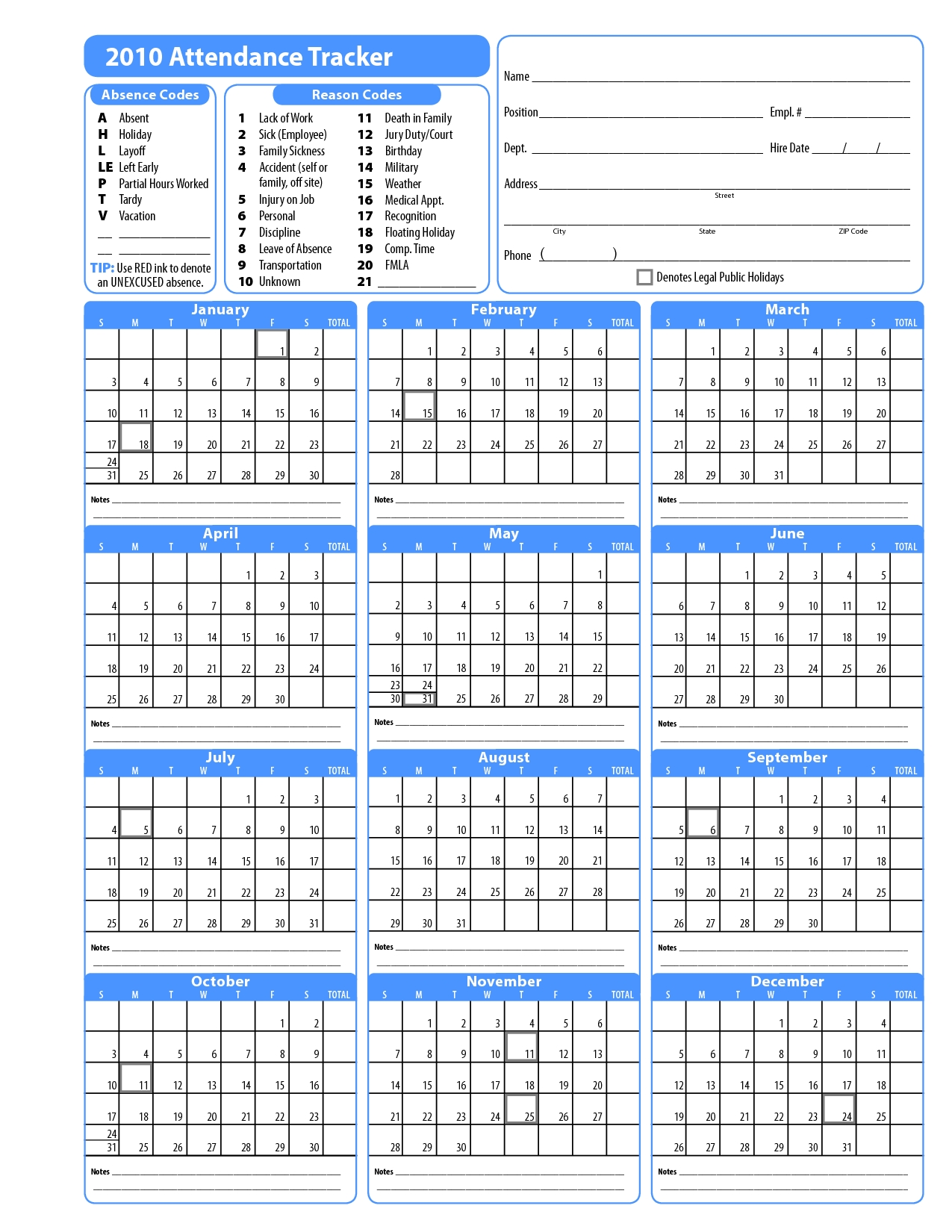 Attendance Calendar Template Sample Christmas 2016 13 Tracking3abry
