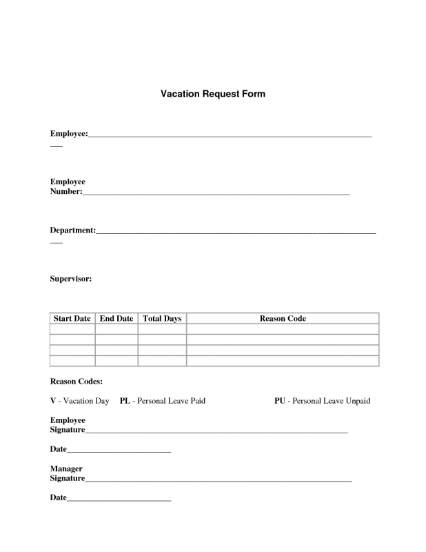 Best Photos Of Template Of Vacation Request Form Vacation  xjb