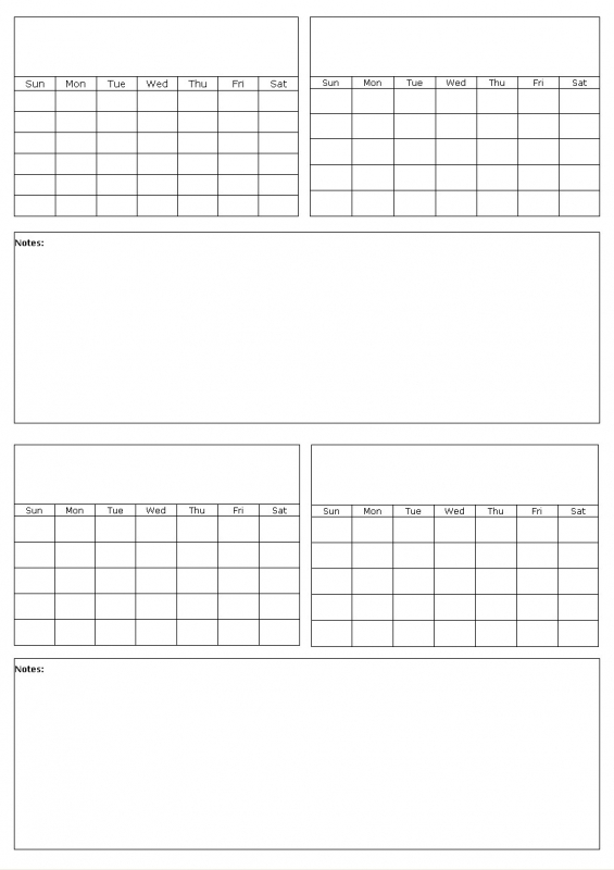 Blank Calendar Generator : Four month calendar template free