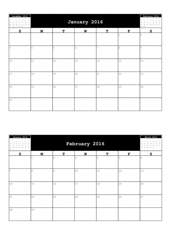 Calendar Ideas Per Month : Month per page calendar free template