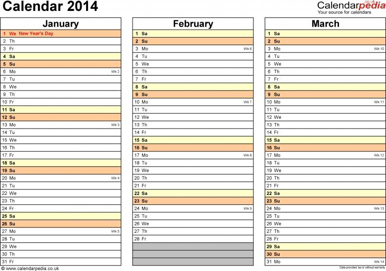 Excel Year Plannercalendar 2014 Uk 15 Free Printable Templates  xjb