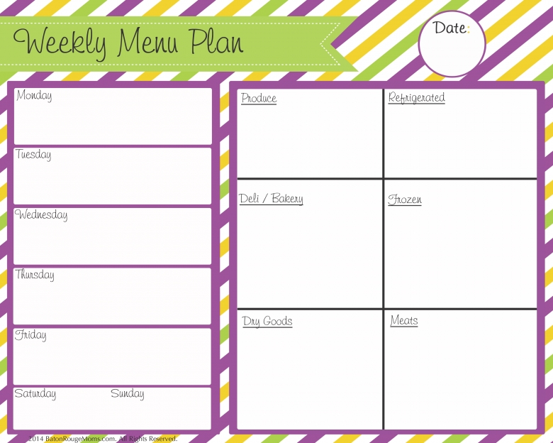 Free Menu Cleaning And Planning Printables3abry