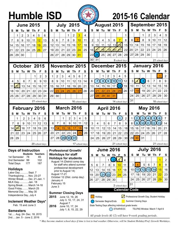 Humble Isd Holiday Calendar :-Free Calendar Template
