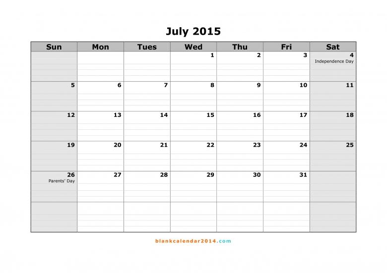 July 2015 Calendar Free Printable Calendar Templates  xjb