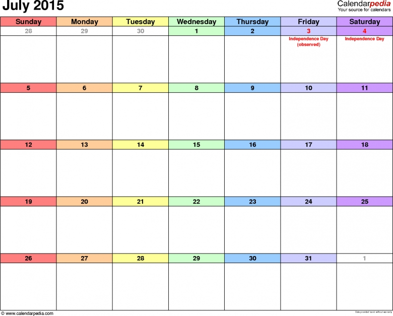 July 2015 Calendars For Word Excel Amp Pdf 89uj