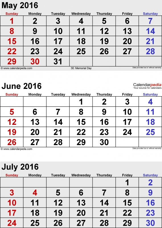 July 2016 Calendars For Word Excel Amp Pdf3abry