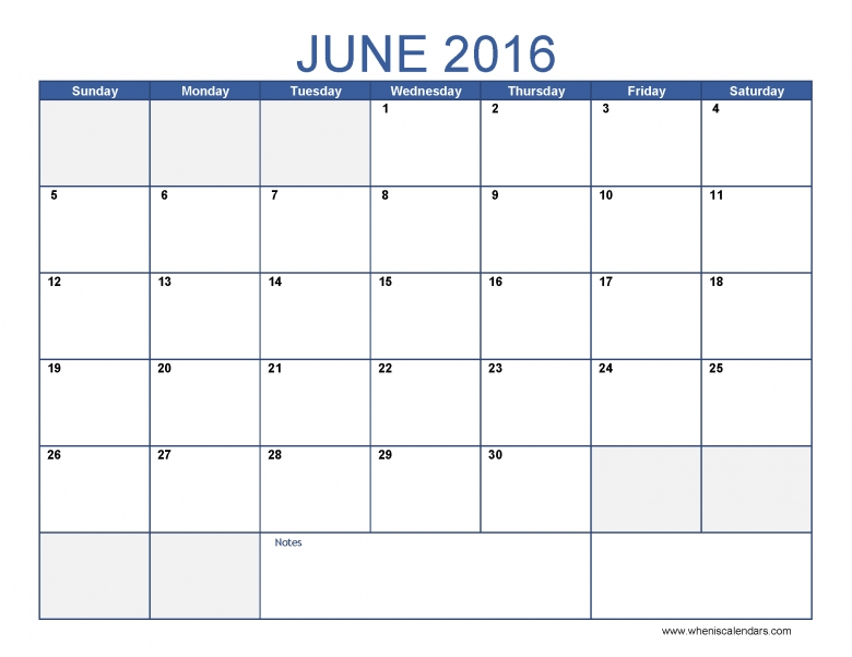 June Calendar 2016 General Blue Image 43abry