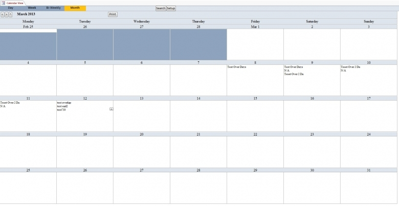 Microsoft Access Calendar Scheduling Database Template  xjb