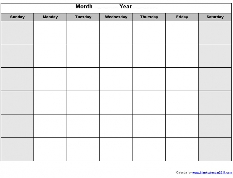 Blank Monthly Calendar : Fill in printable monthly calendar free template