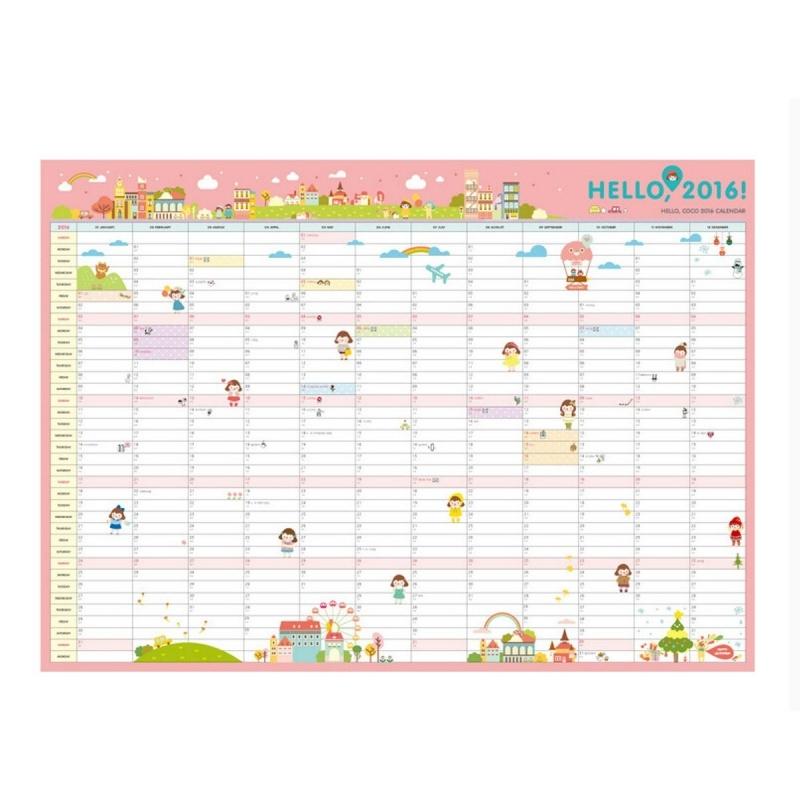 New 2016 Calendar Wall Calendar Monthly Planner Paper Hanging3abry