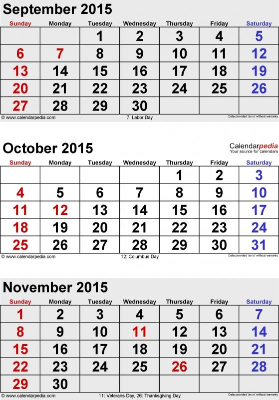November 2015 Calendars For Word Excel Amp Pdf  xjb