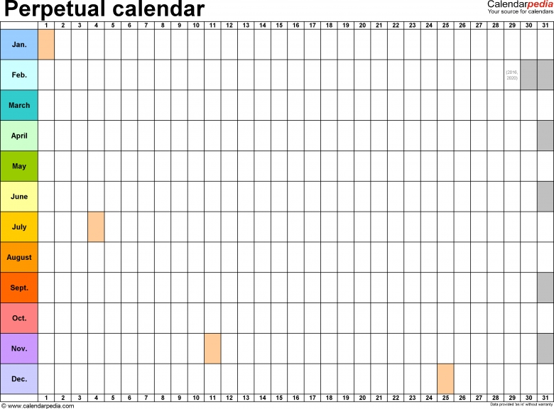 Perpetual Calendars 7 Free Printable Excel Templates3abry