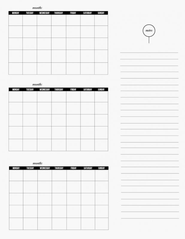 Printable 3 Month Calendar Calendar Template 2016  xjb