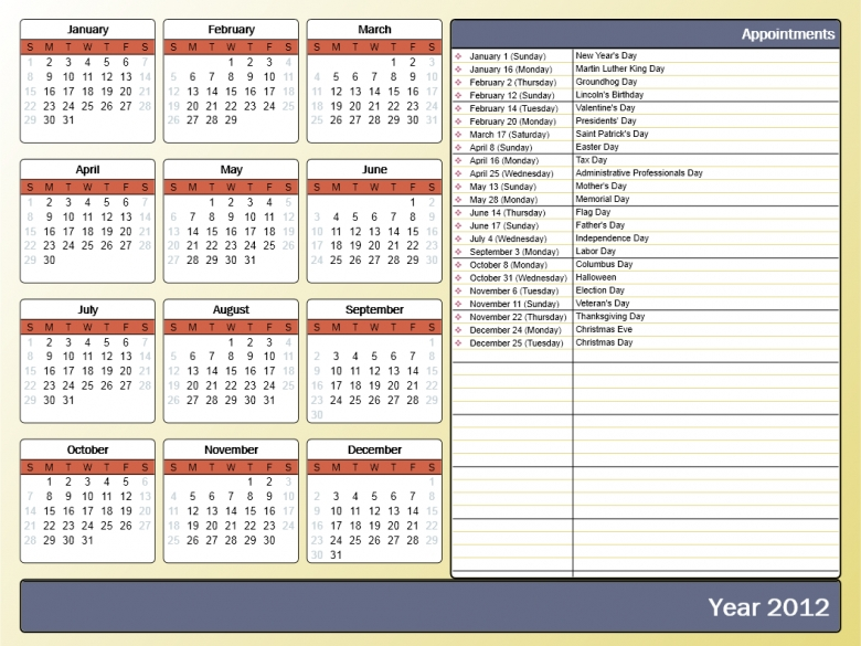 Printing A Yearly Calendar With Holidays And Birthdays Howto Outlook  xjb