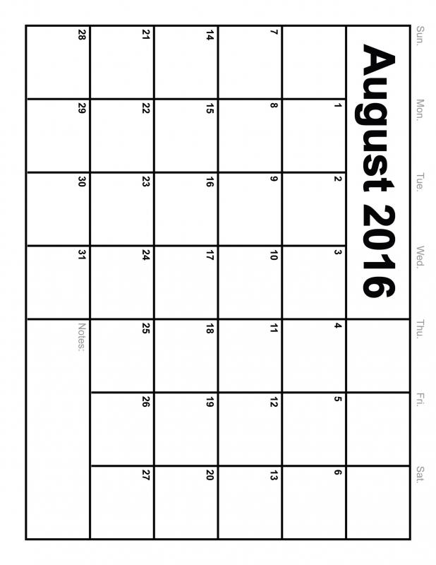 Calendar Template 8 12 X 11