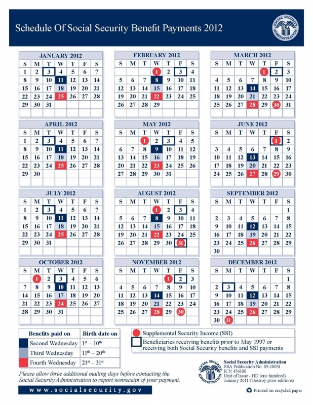 2012 Social Security Disability Amp Ssi Benefits Pay Calendar 89uj