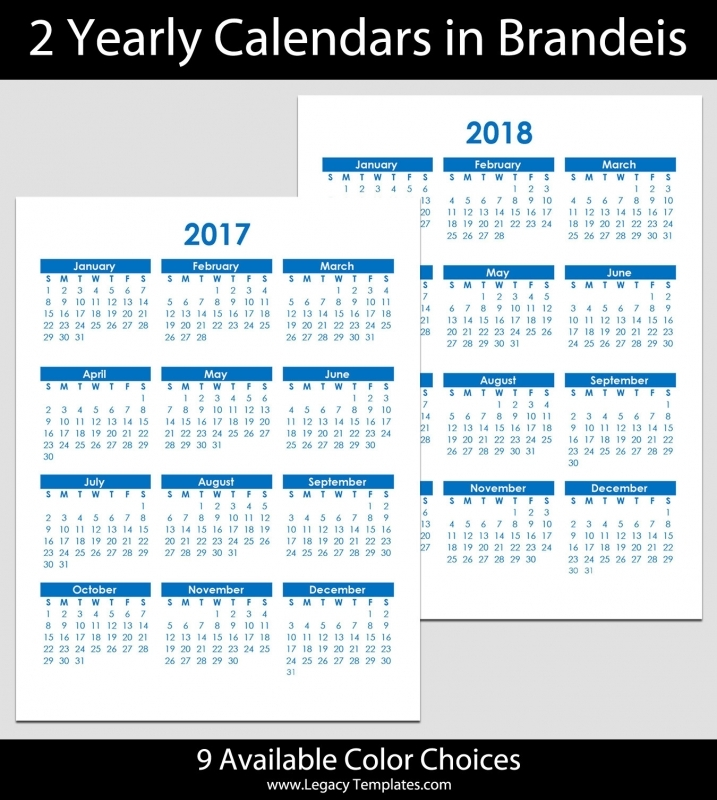 2017 Amp 2018 Yearly Calendar 8 12quot X 11quot Legacy Templates 89uj