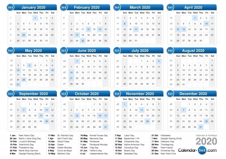 2020 Calendar  xjb