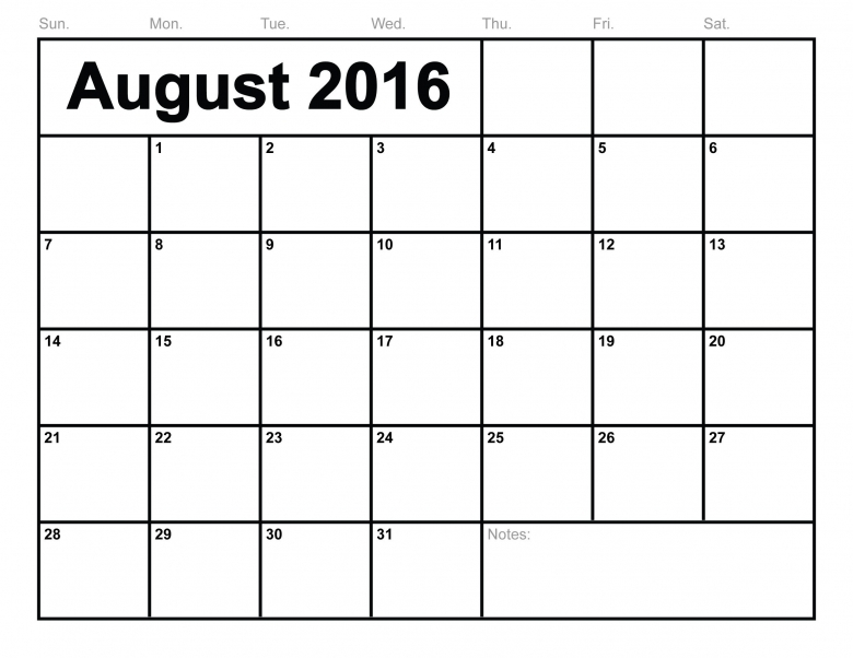 6 Best Images Of 8 X 11 Printable Calendar August 2016 Printable3abry
