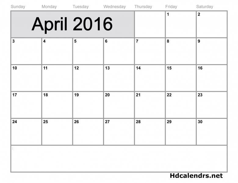 April 2016 Calendar Vertical3abry