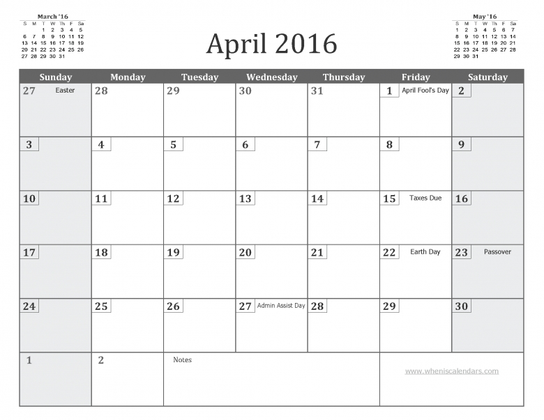 April 2016 Calendar With Holidays Printable 7 Templates3abry