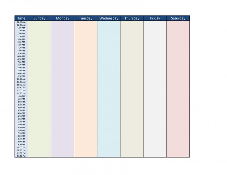 Best Photos Of 7 Day Week Calendar Template Free Weekly Schedule 89uj