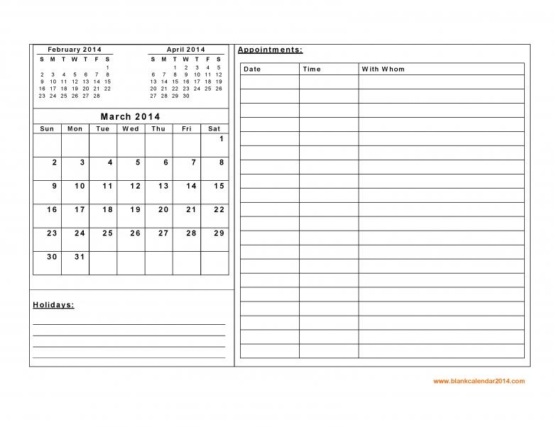 free blank printable appointment calendar free calendar template. Black Bedroom Furniture Sets. Home Design Ideas