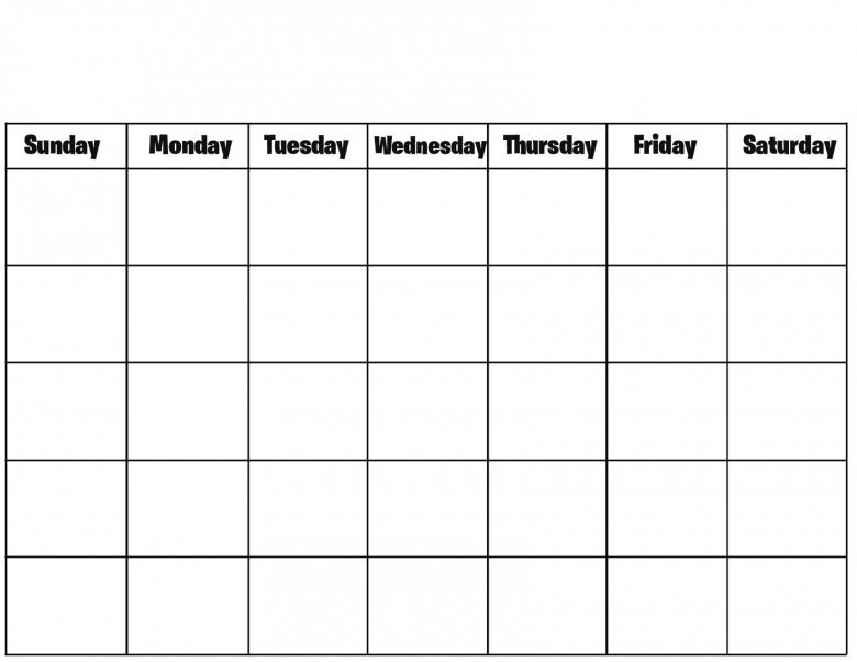 Blank Calendar Weekly Calendar Template 89uj