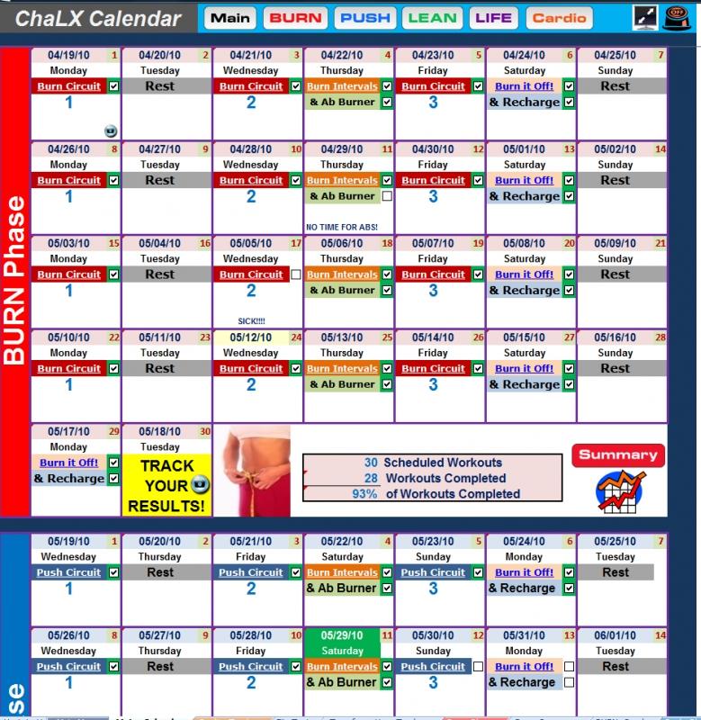 Chalean Extreme Workout Calendar Printable Free Calendar