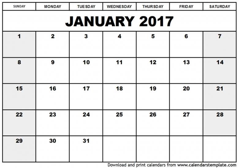 January 2017 Calendar Template 89uj