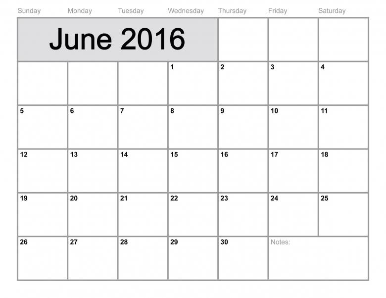 June 2016 Printable Calendar Blank Templates Printable3abry