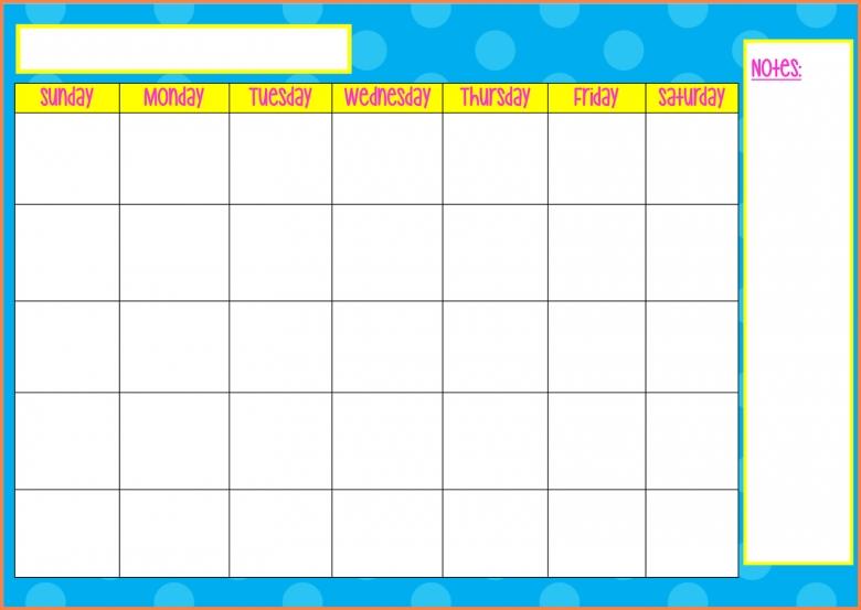 Monday Through Friday Calendar Sales Report Template3abry