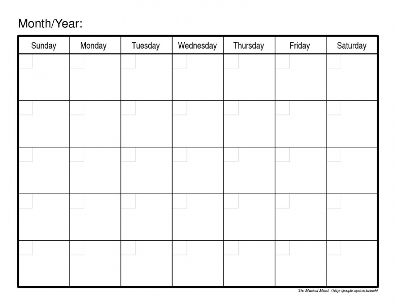 Free Blank Calendar Print Outs