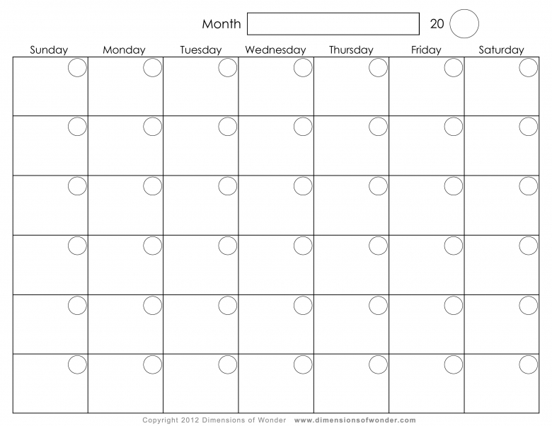 blank 2017 monthly calendars