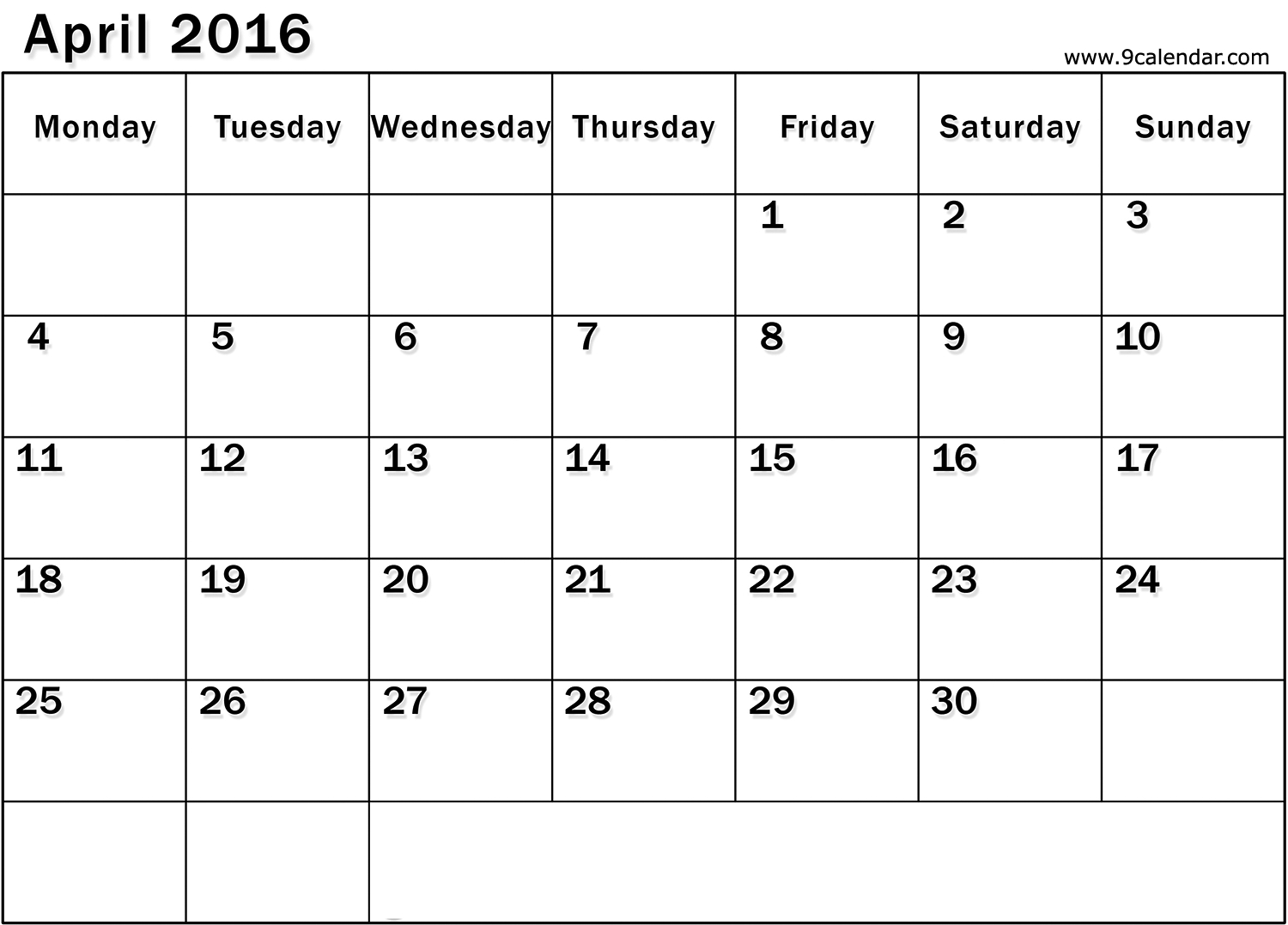 Calendar Monday Start : Printable blank calendars starting with monday free