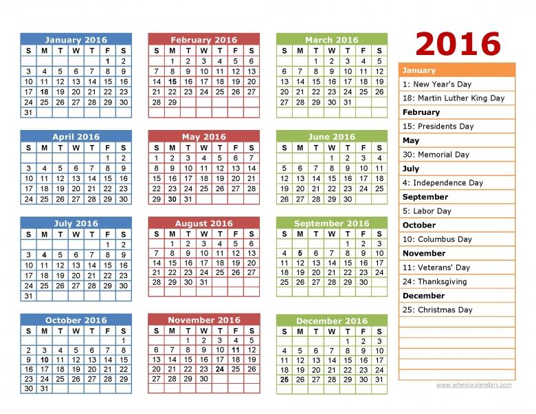 Printable 2016 Calendar One Page When Is Calendar  xjb